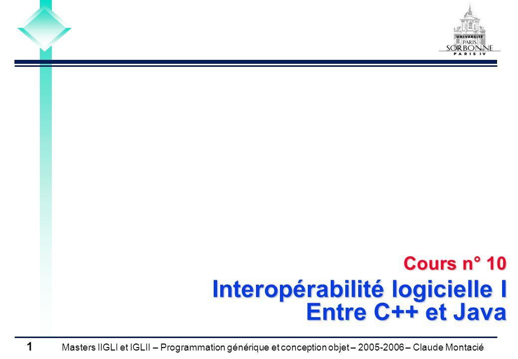 Masters IIGLI et IGLII – Programmation générique et conception objet – 2005-2006 – Claude Montacié 1 Cours n° 10 Interopérabilité logicielle I Entre C++ et Java