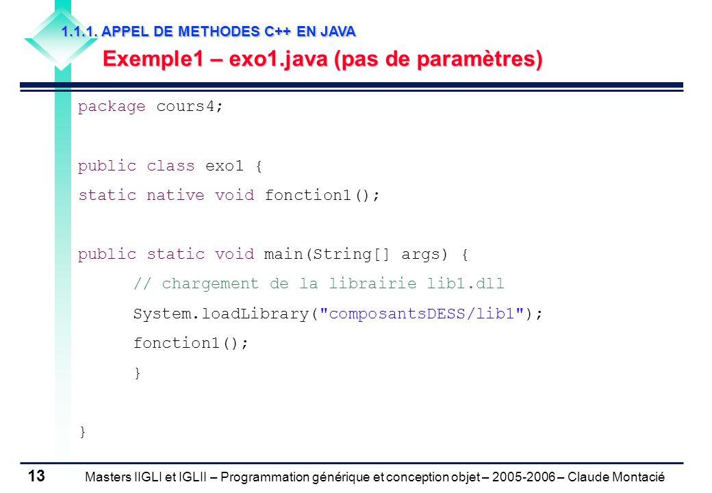 Masters IIGLI et IGLII – Programmation générique et conception objet – 2005-2006 – Claude Montacié 13 1.1.1.