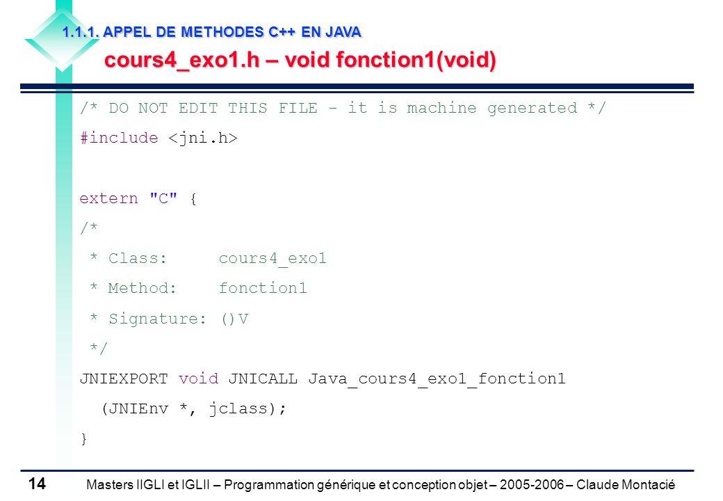 Masters IIGLI et IGLII – Programmation générique et conception objet – 2005-2006 – Claude Montacié 14 1.1.1.