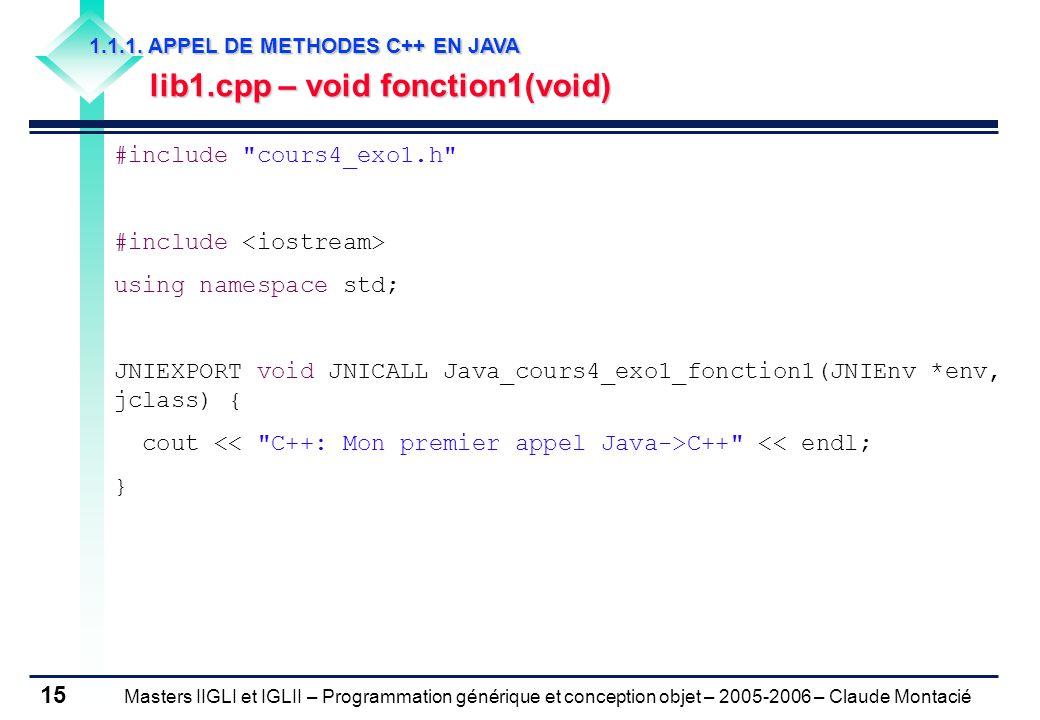 Masters IIGLI et IGLII – Programmation générique et conception objet – 2005-2006 – Claude Montacié 15 1.1.1.