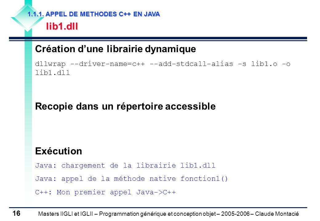 Masters IIGLI et IGLII – Programmation générique et conception objet – 2005-2006 – Claude Montacié 16 1.1.1.