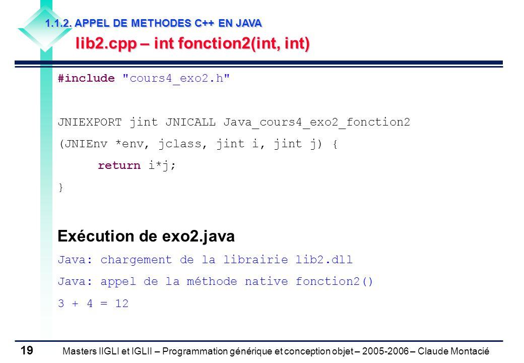 Masters IIGLI et IGLII – Programmation générique et conception objet – 2005-2006 – Claude Montacié 19 1.1.2.