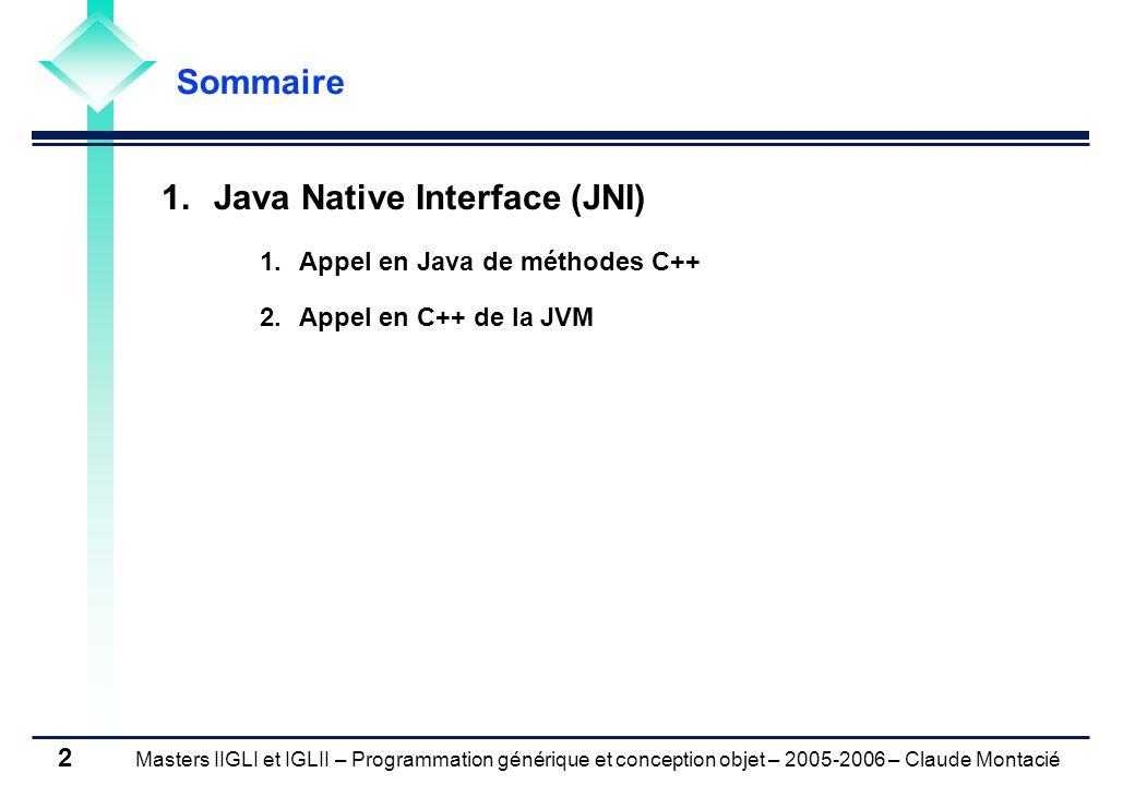 Masters IIGLI et IGLII – Programmation générique et conception objet – 2005-2006 – Claude Montacié 2 1.Java Native Interface (JNI) 1.Appel en Java de méthodes C++ 2.Appel en C++ de la JVM Sommaire