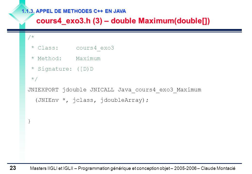 Masters IIGLI et IGLII – Programmation générique et conception objet – 2005-2006 – Claude Montacié 23 1.1.3.