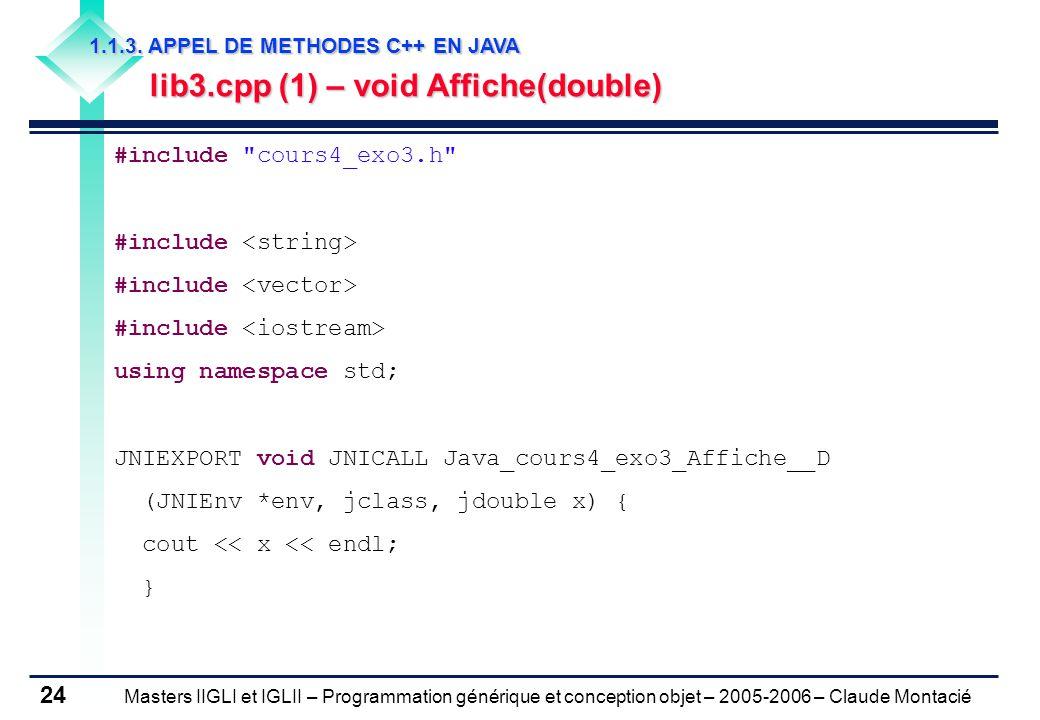 Masters IIGLI et IGLII – Programmation générique et conception objet – 2005-2006 – Claude Montacié 24 1.1.3.