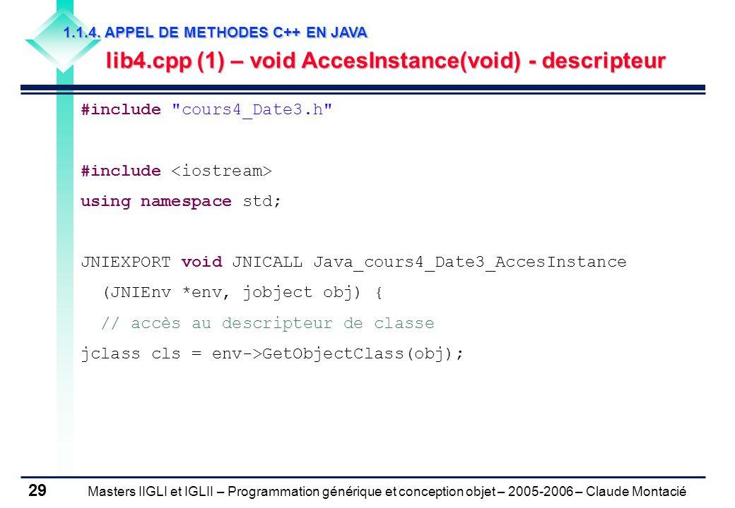 Masters IIGLI et IGLII – Programmation générique et conception objet – 2005-2006 – Claude Montacié 29 1.1.4.