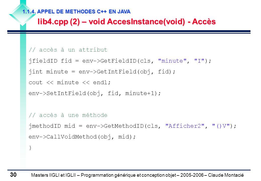 Masters IIGLI et IGLII – Programmation générique et conception objet – 2005-2006 – Claude Montacié 30 1.1.4.