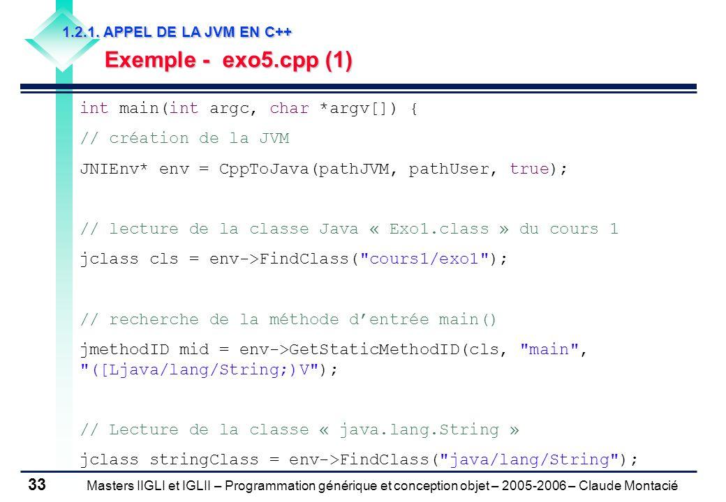 Masters IIGLI et IGLII – Programmation générique et conception objet – 2005-2006 – Claude Montacié 33 1.2.1.