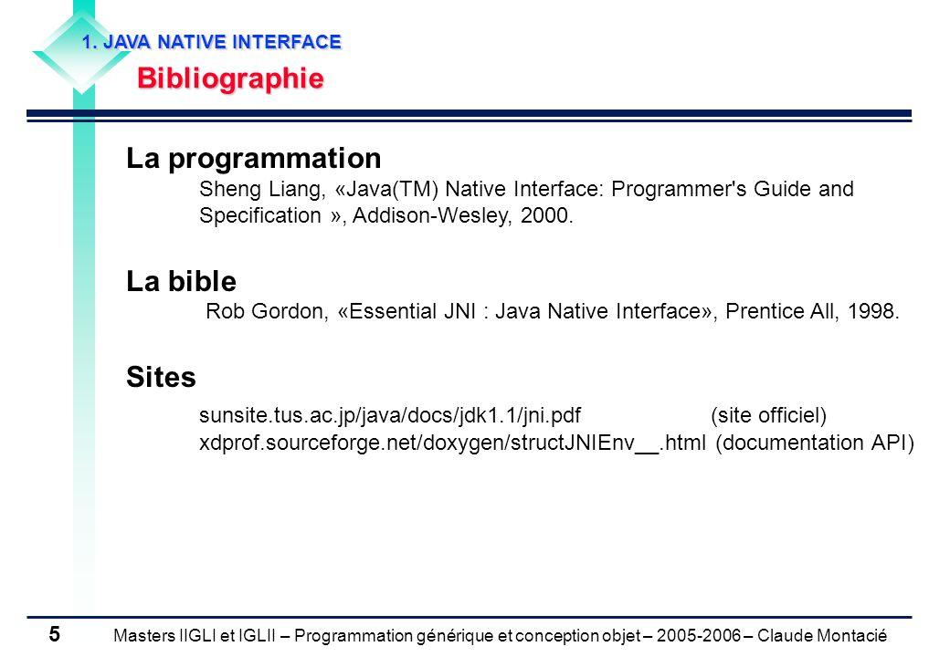 Masters IIGLI et IGLII – Programmation générique et conception objet – 2005-2006 – Claude Montacié 5 1.