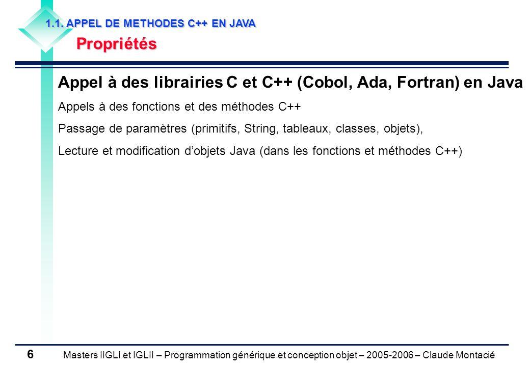 Masters IIGLI et IGLII – Programmation générique et conception objet – 2005-2006 – Claude Montacié 6 1.1.