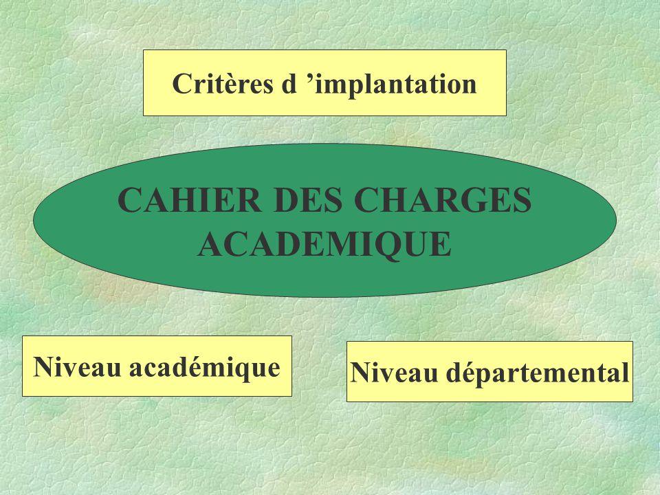 Niveau académique Niveau départemental Critères d 'implantation CAHIER DES CHARGES ACADEMIQUE