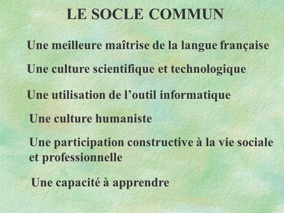 LE SOCLE COMMUN Une meilleure maîtrise de la langue française Une culture scientifique et technologique Une utilisation de l'outil informatique Une culture humaniste Une participation constructive à la vie sociale et professionnelle Une capacité à apprendre