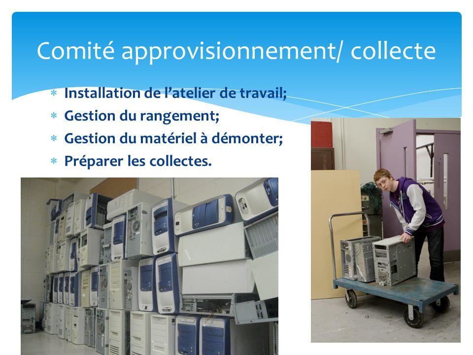  Installation de l'atelier de travail;  Gestion du rangement;  Gestion du matériel à démonter;  Préparer les collectes.