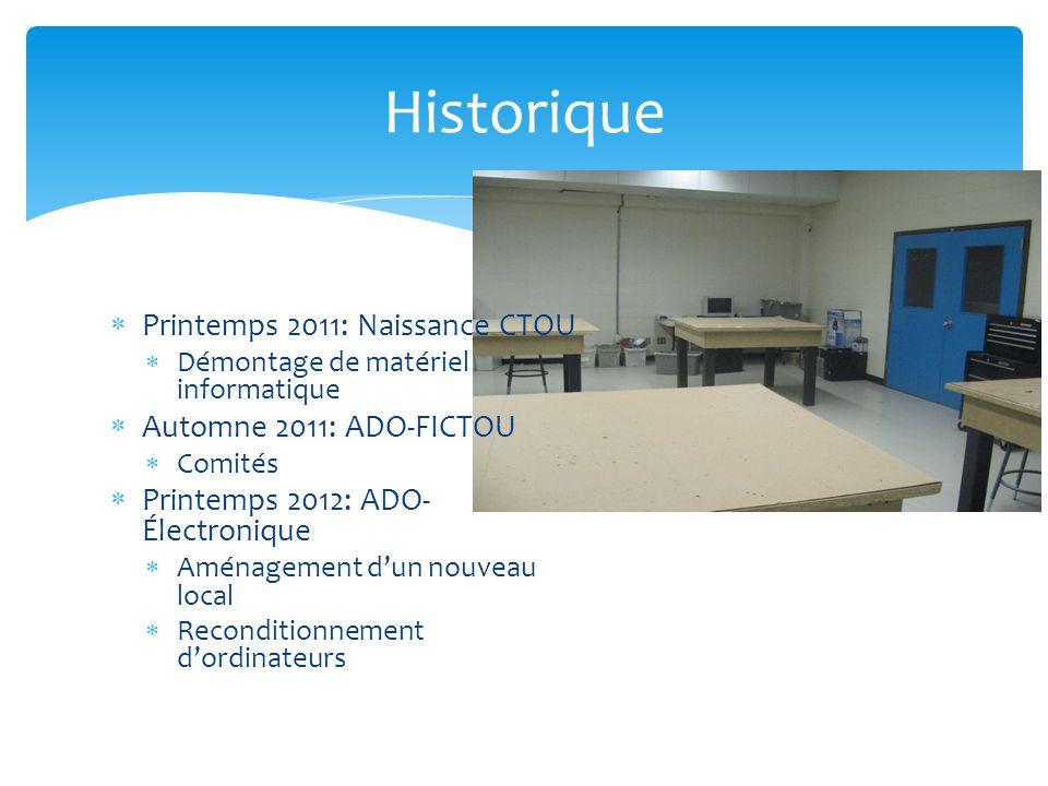  Printemps 2011: Naissance CTOU  Démontage de matériel informatique  Automne 2011: ADO-FICTOU  Comités  Printemps 2012: ADO- Électronique  Aménagement d'un nouveau local  Reconditionnement d'ordinateurs Historique