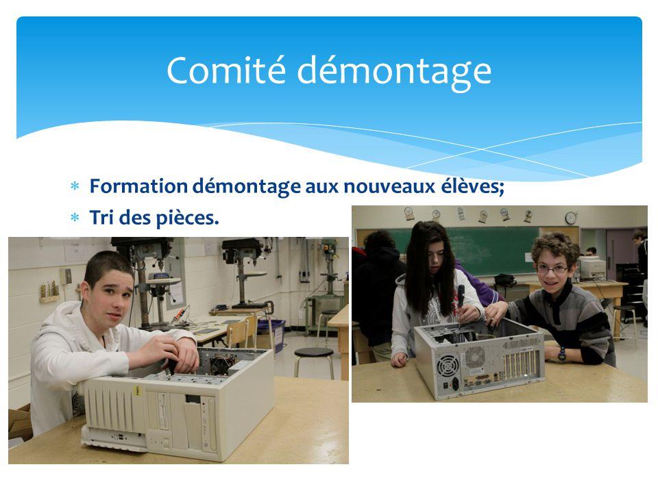  Répertorier les ordinateurs à démonter et à reconditionner;  Reconditionner les ordinateurs.