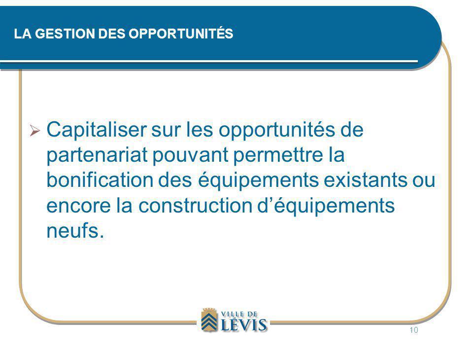 LA GESTION DES OPPORTUNITÉS  Capitaliser sur les opportunités de partenariat pouvant permettre la bonification des équipements existants ou encore la