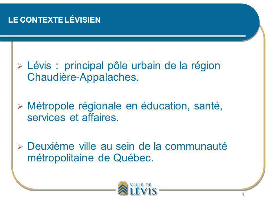 LE CONTEXTE LÉVISIEN  Lévis : principal pôle urbain de la région Chaudière-Appalaches.  Métropole régionale en éducation, santé, services et affaire