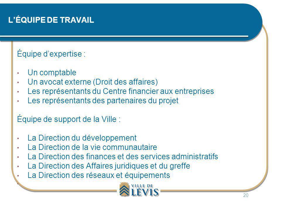 L'ÉQUIPE DE TRAVAIL Équipe d'expertise : • Un comptable • Un avocat externe (Droit des affaires) • Les représentants du Centre financier aux entrepris