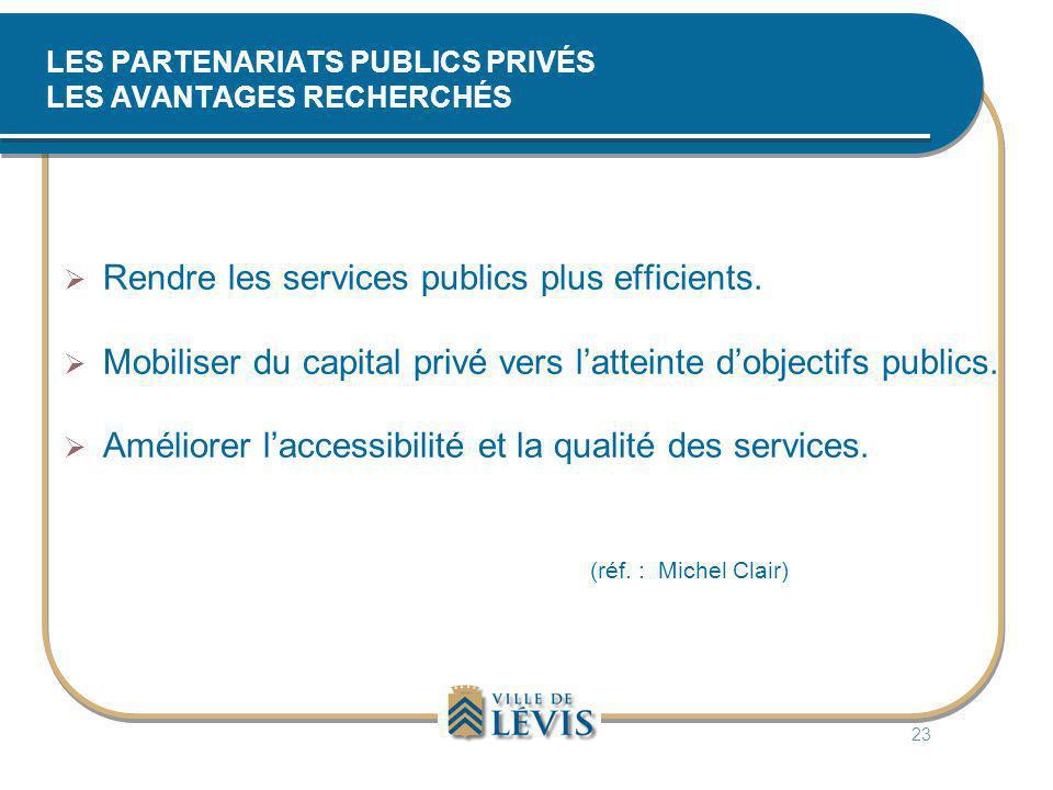 LES PARTENARIATS PUBLICS PRIVÉS LES AVANTAGES RECHERCHÉS  Rendre les services publics plus efficients.  Mobiliser du capital privé vers l'atteinte d