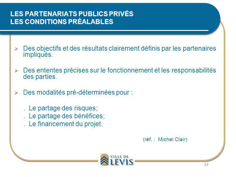 LES PARTENARIATS PUBLICS PRIVÉS LES CONDITIONS PRÉALABLES  Des objectifs et des résultats clairement définis par les partenaires impliqués.  Des ent
