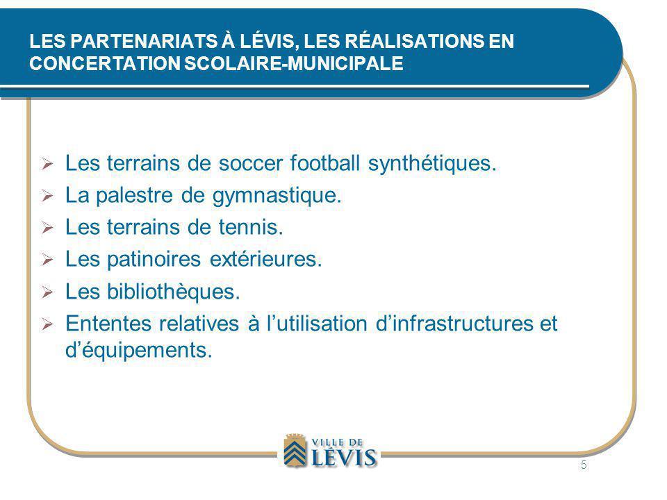 LES PARTENARIATS À LÉVIS, LES RÉALISATIONS EN CONCERTATION SCOLAIRE-MUNICIPALE  Les terrains de soccer football synthétiques.  La palestre de gymnas