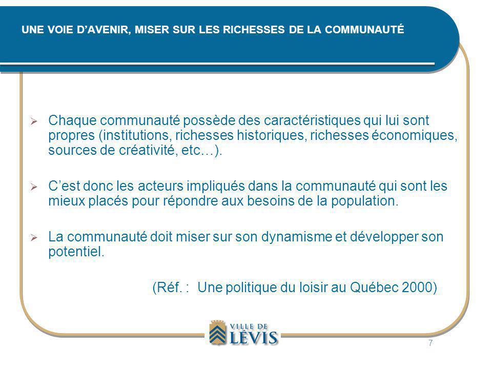 UNE VOIE D'AVENIR, MISER SUR LES RICHESSES DE LA COMMUNAUTÉ  Chaque communauté possède des caractéristiques qui lui sont propres (institutions, riche