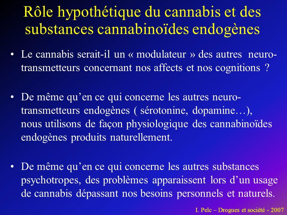 •Le cannabis serait-il un « modulateur » des autres neuro- transmetteurs concernant nos affects et nos cognitions ? •De même qu'en ce qui concerne les
