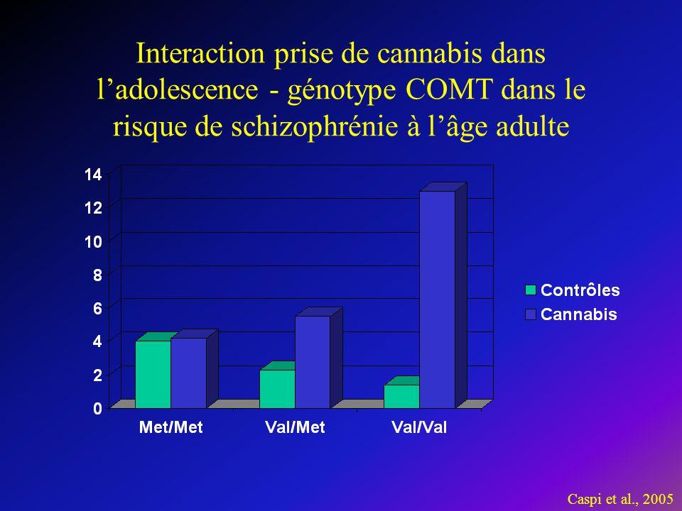 Interaction prise de cannabis dans l'adolescence - génotype COMT dans le risque de schizophrénie à l'âge adulte Caspi et al., 2005