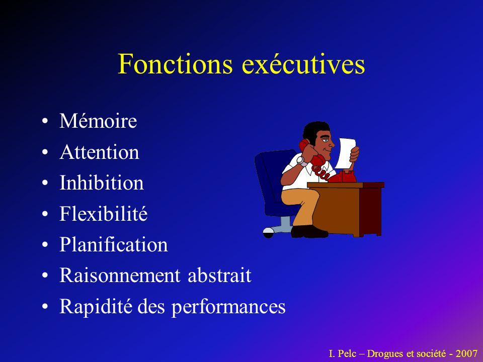 Fonctions exécutives •Mémoire •Attention •Inhibition •Flexibilité •Planification •Raisonnement abstrait •Rapidité des performances I. Pelc – Drogues e