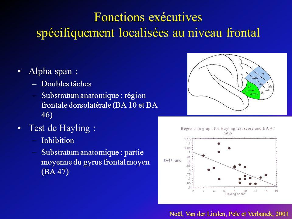 Fonctions exécutives spécifiquement localisées au niveau frontal •Alpha span : –Doubles tâches –Substratum anatomique : région frontale dorsolatérale