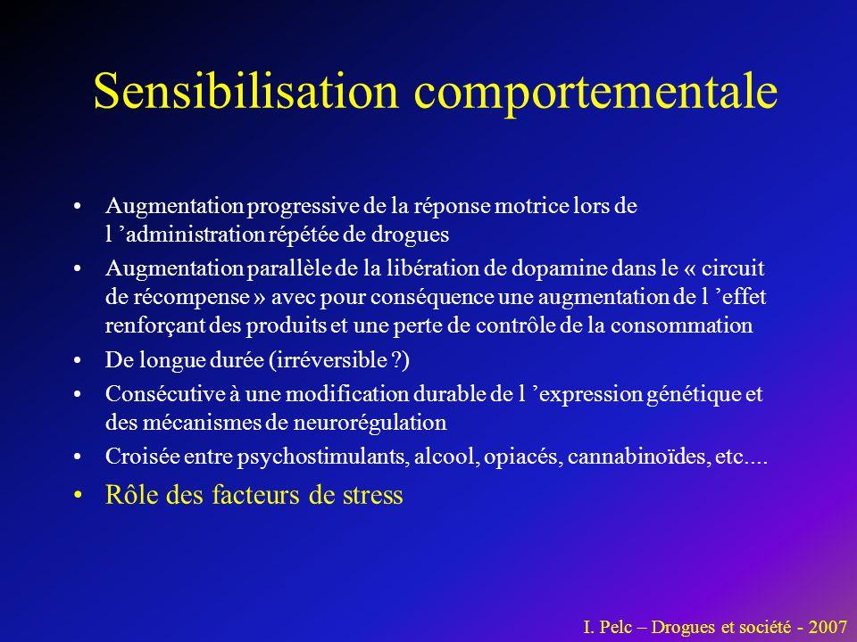 Sensibilisation comportementale •Augmentation progressive de la réponse motrice lors de l 'administration répétée de drogues •Augmentation parallèle d
