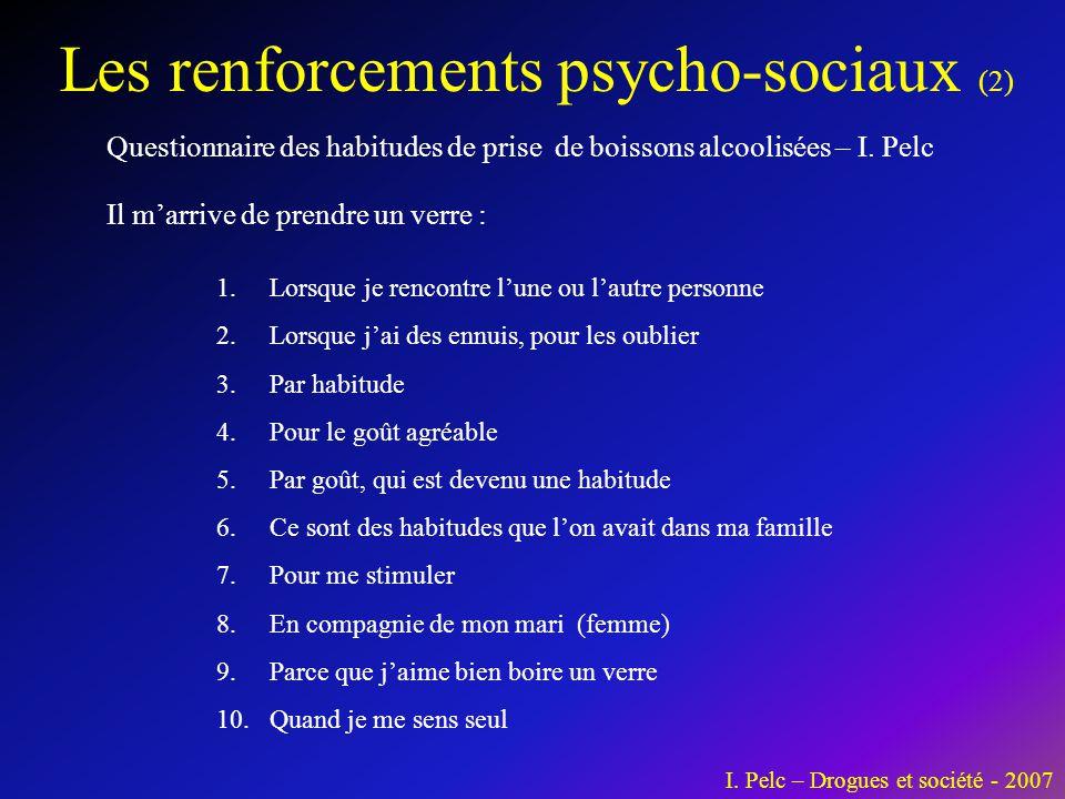 Les renforcements psycho-sociaux (2) Questionnaire des habitudes de prise de boissons alcoolisées – I. Pelc 1.Lorsque je rencontre l'une ou l'autre pe