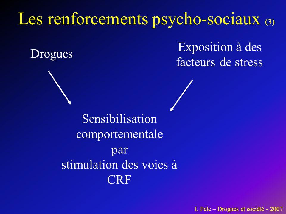 Les renforcements psycho-sociaux (3) Drogues Exposition à des facteurs de stress Sensibilisation comportementale par stimulation des voies à CRF I. Pe
