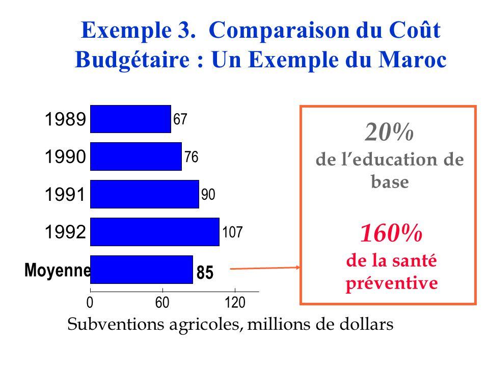 Exemple 3. Comparaison du Coût Budgétaire : Un Exemple du Maroc Subventions agricoles, millions de dollars 160% de la santé préventive 1989 1990 1991