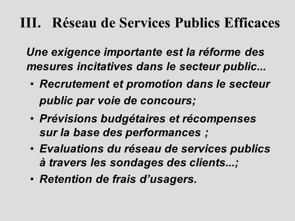 III. Réseau de Services Publics Efficaces Une exigence importante est la réforme des mesures incitatives dans le secteur public... • •Recrutement et p