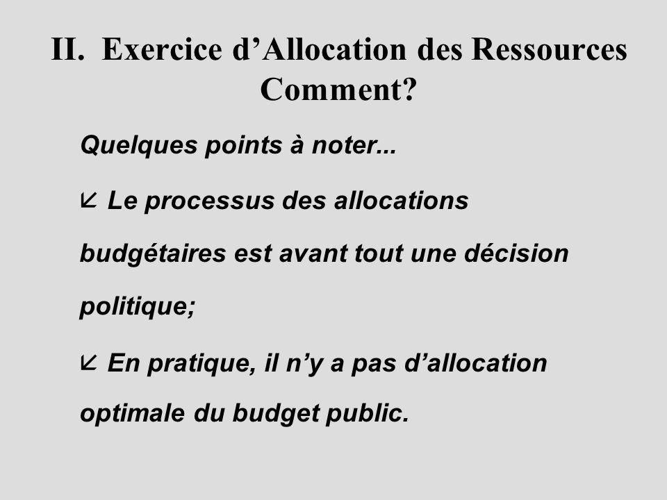 II.Exercice d'Allocation des Ressources Comment. Quelques points à noter...