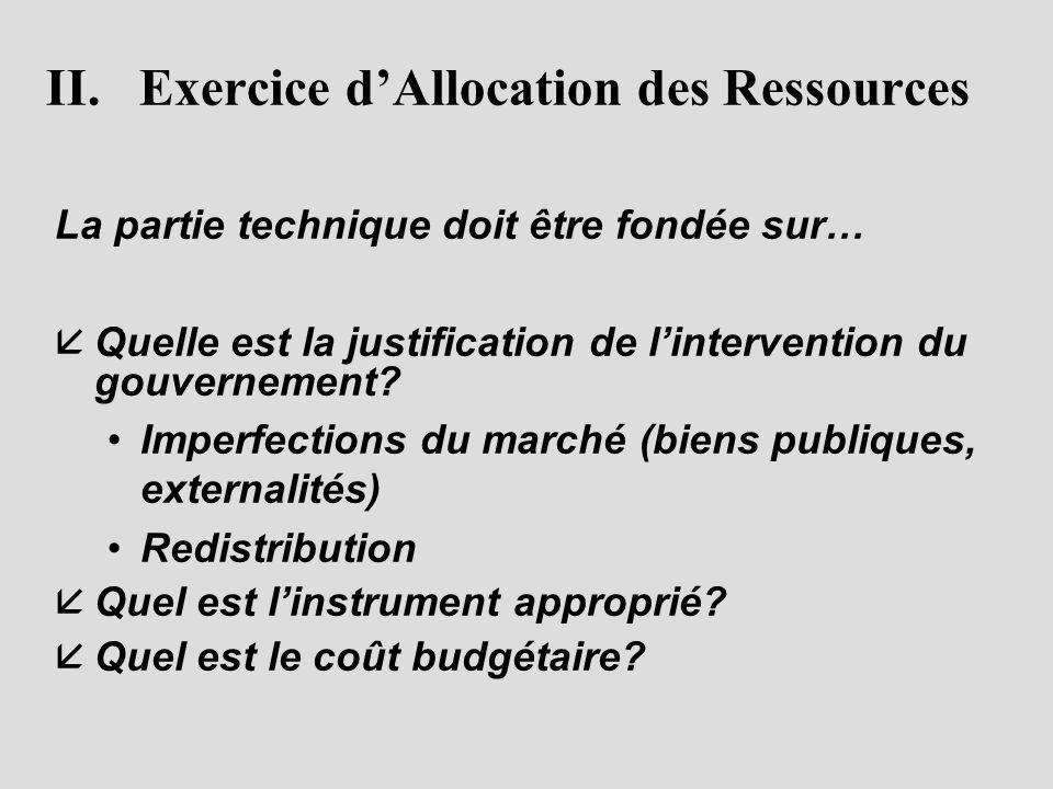 II. Exercice d'Allocation des Ressources La partie technique doit être fondée sur… å åQuelle est la justification de l'intervention du gouvernement? •