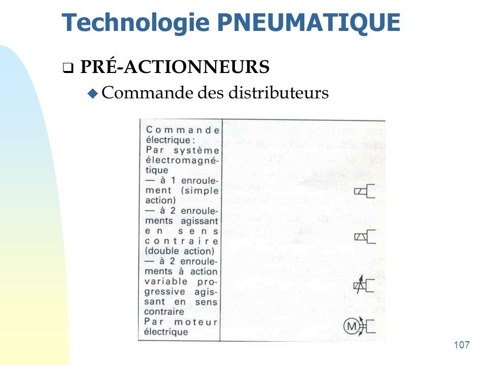 107 Technologie PNEUMATIQUE  PRÉ-ACTIONNEURS u Commande des distributeurs