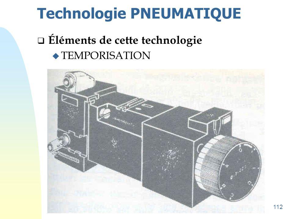 112 Technologie PNEUMATIQUE  Éléments de cette technologie u TEMPORISATION