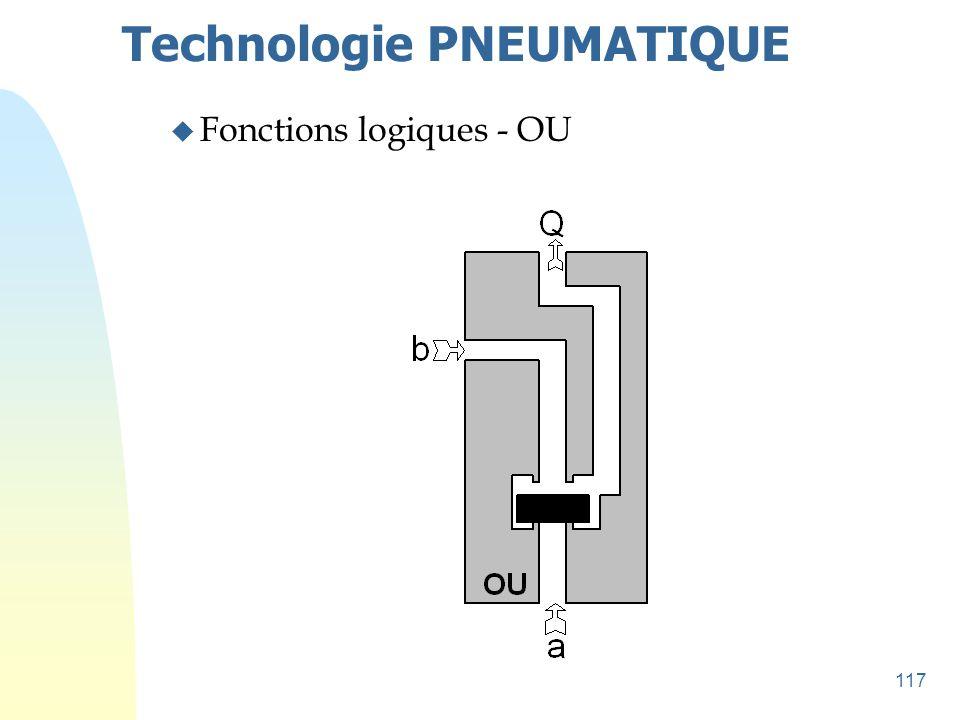 117 Technologie PNEUMATIQUE u Fonctions logiques - OU