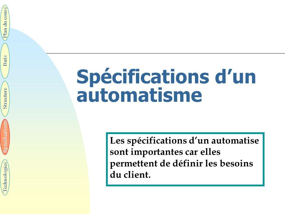 Spécifications d'un automatisme Les spécifications d'un automatise sont importantes car elles permettent de définir les besoins du client. Plan du cou