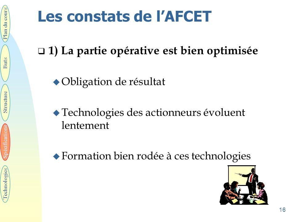 16 Les constats de l'AFCET  1) La partie opérative est bien optimisée u Obligation de résultat u Technologies des actionneurs évoluent lentement u Fo
