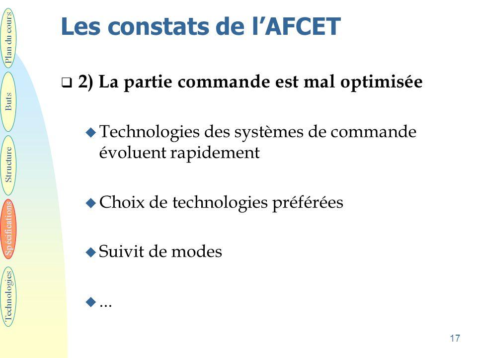 17 Les constats de l'AFCET  2) La partie commande est mal optimisée u Technologies des systèmes de commande évoluent rapidement u Choix de technologies préférées u Suivit de modes u...