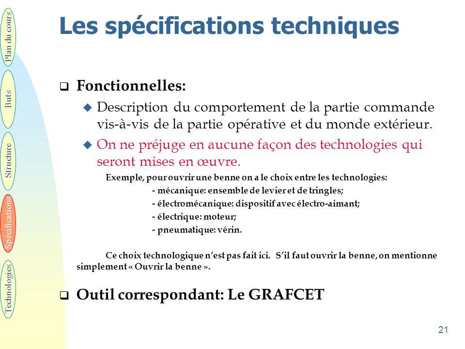 21 Les spécifications techniques  Fonctionnelles: u Description du comportement de la partie commande vis-à-vis de la partie opérative et du monde ex