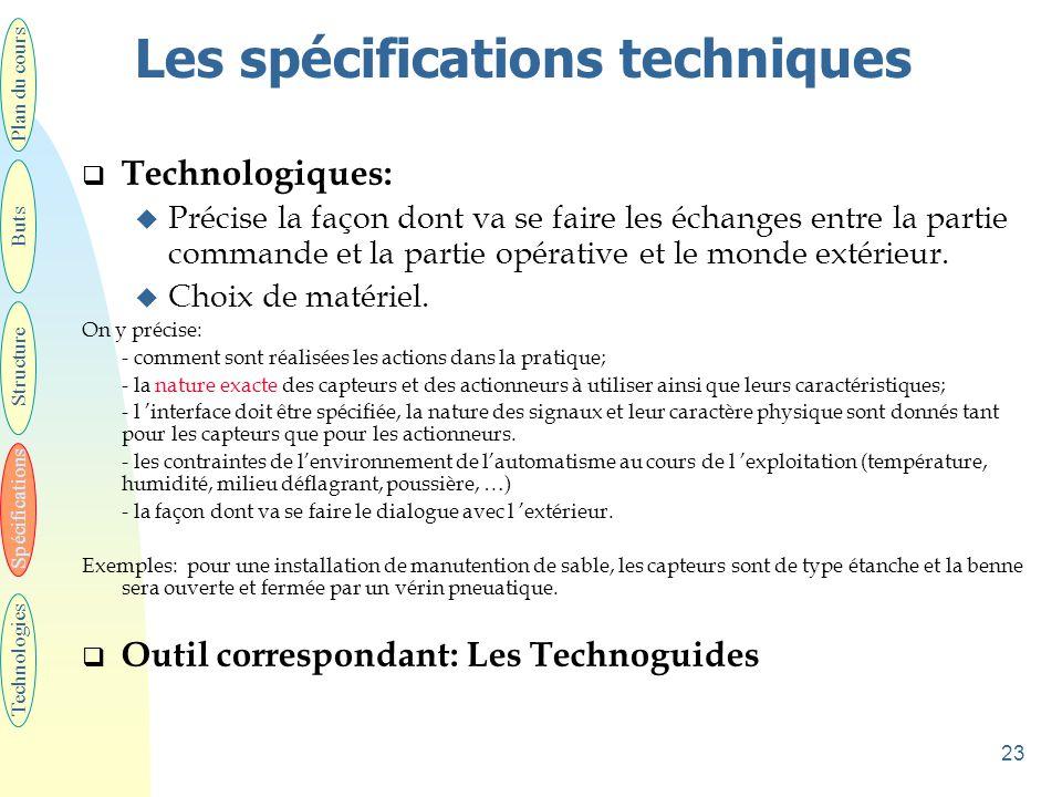 23 Les spécifications techniques  Technologiques: u Précise la façon dont va se faire les échanges entre la partie commande et la partie opérative et