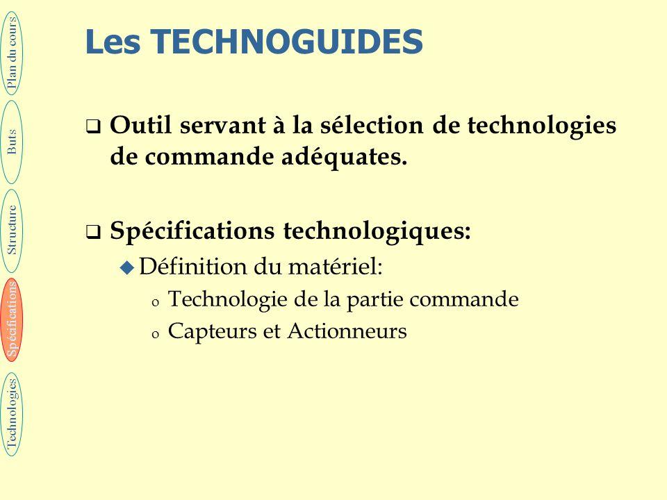 Les TECHNOGUIDES  Outil servant à la sélection de technologies de commande adéquates.  Spécifications technologiques: u Définition du matériel: o Te