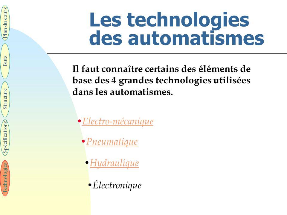 Les technologies des automatismes Il faut connaître certains des éléments de base des 4 grandes technologies utilisées dans les automatismes. Technolo