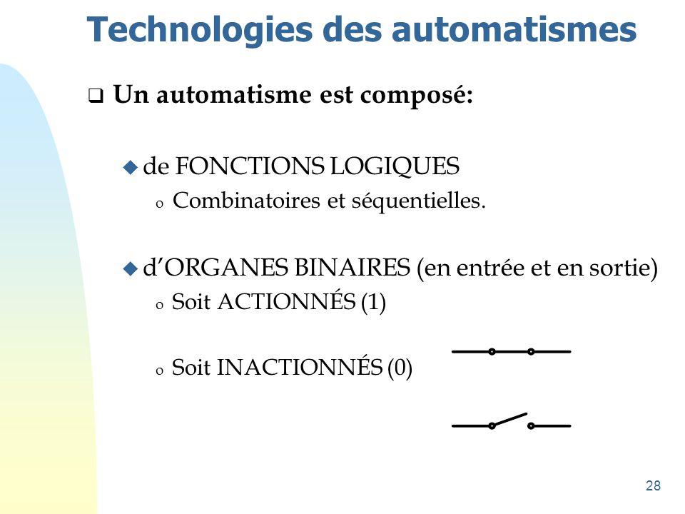 28 Technologies des automatismes  Un automatisme est composé: u de FONCTIONS LOGIQUES o Combinatoires et séquentielles. u d'ORGANES BINAIRES (en entr