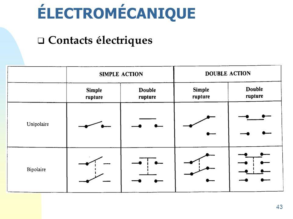 43  Contacts électriques ÉLECTROMÉCANIQUE