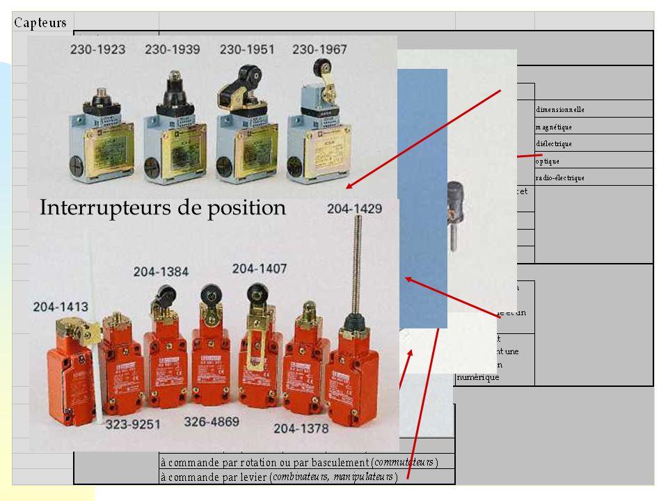 48 Cellules photoélectriques Capteur de température Pt 100 de précision Pressostats Interrupteurs à bouton poussoir Interrupteurs à levier 4 direction
